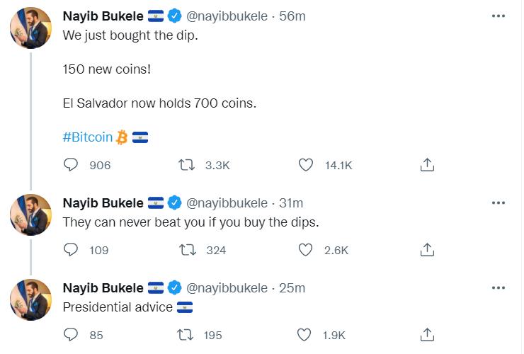 萨尔瓦多再次购入150枚比特币,目前共持有700枚BTC