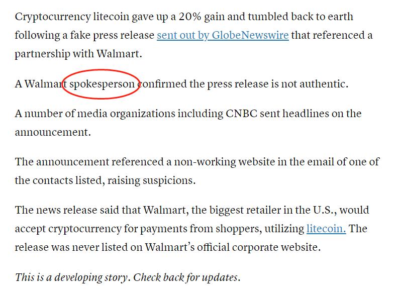 CNBC:沃尔玛发言人证实此前关于接受莱特币的新闻稿为虚假消息