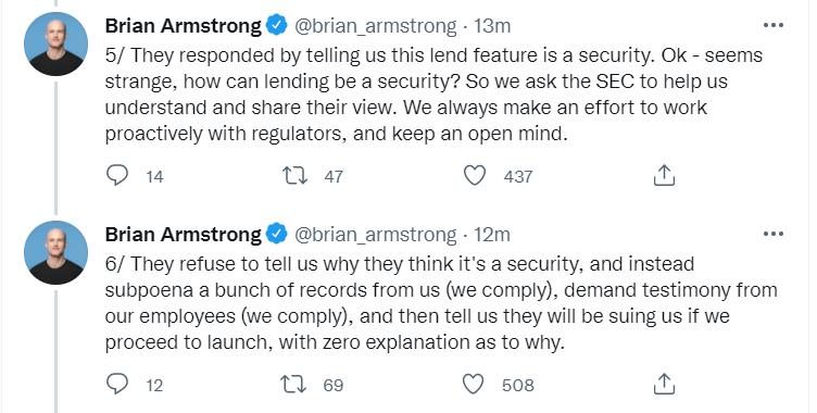 美SEC:Coinbase贷款功能属于债券范围,若继续推出将对其起诉