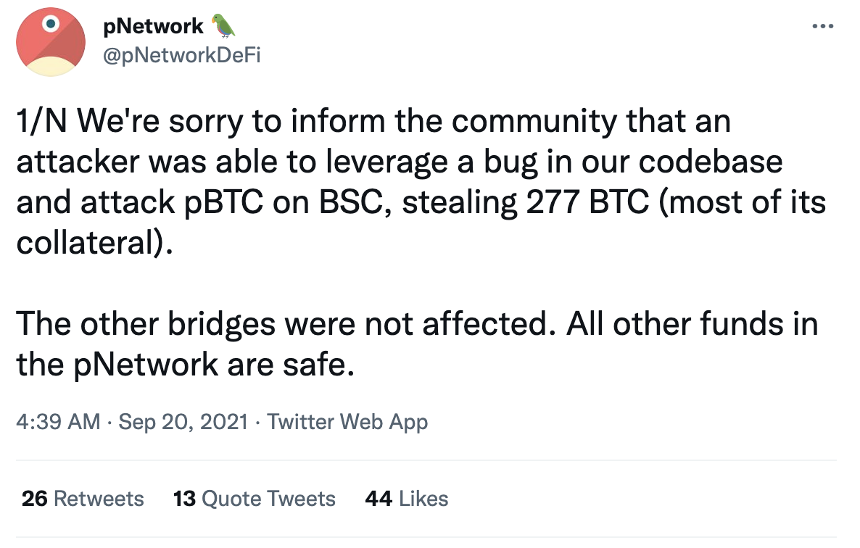 跨链协议pNetwork因代码漏洞遭攻击,损失约1308万美元