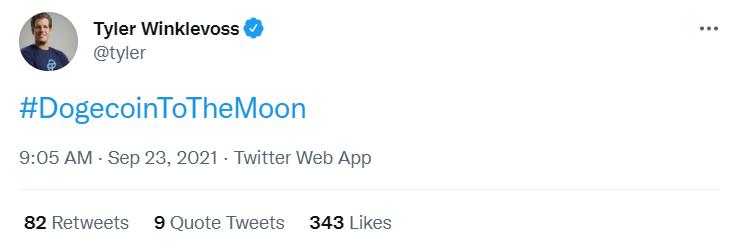 "Gemini创始人发布关于""狗狗币冲上月球""标签的推特"